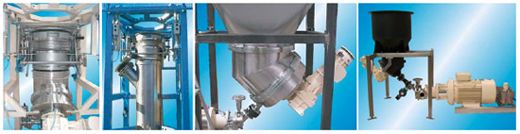 Ystral systems for fluidizing of powdery components and docking stations for Bulk-Bags